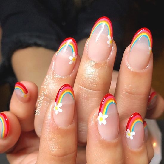 rainbow french manicure spring nail art ideas