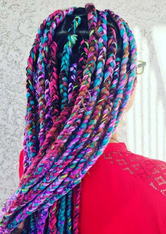 rainbow yarn braids