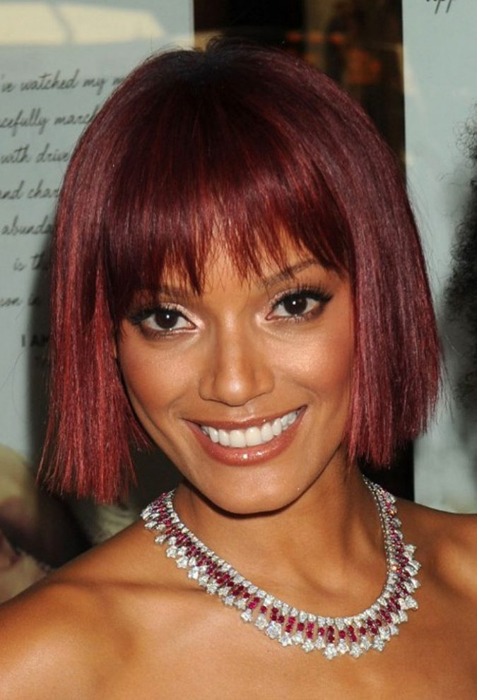 short Bob Hairstyle with Edgy Bangs for black women 1 675x991 1