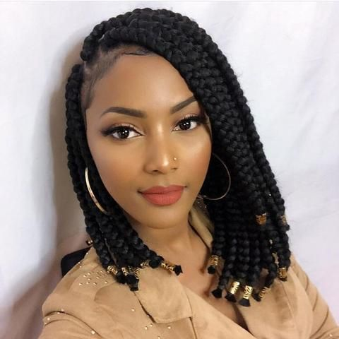side part Jumbo Box Braids