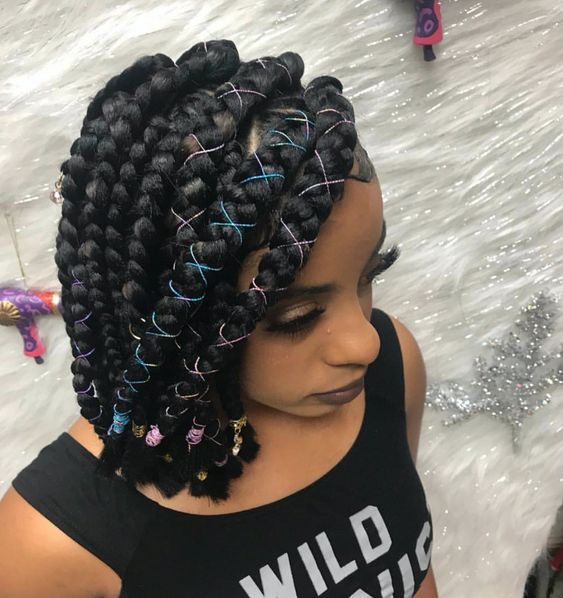 side swept chunky bob braids