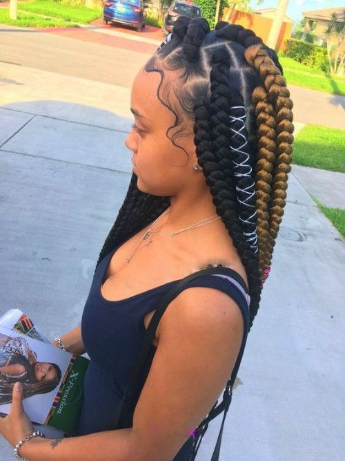 triangle honey black box braids