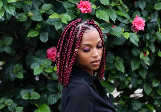 triangle red box braids lob