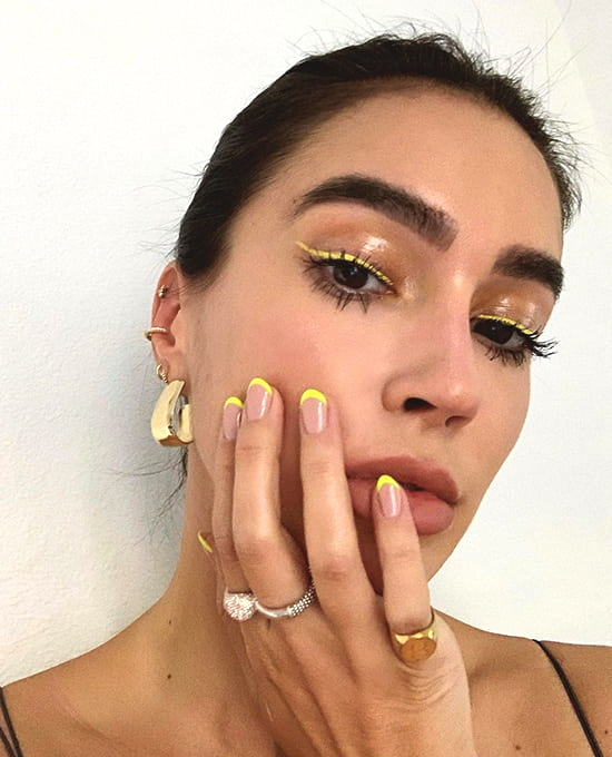 yellow french manicure spring nail art ideas