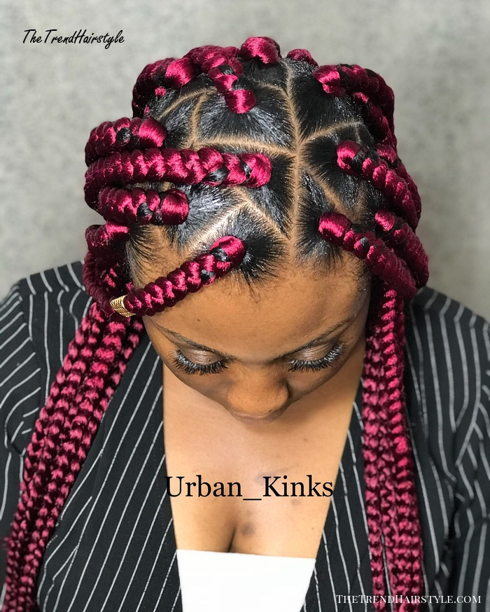Bright Pink Triangle Braids