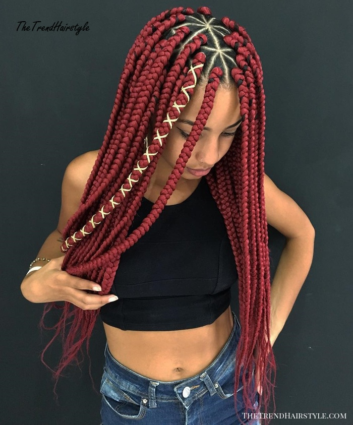 Centre Parted Red Triangle Box Braids