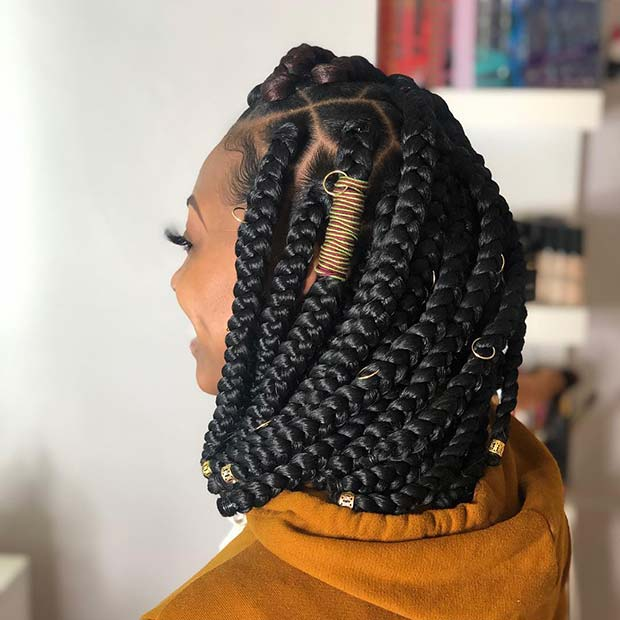 Chunky and Accessorized Box Braids