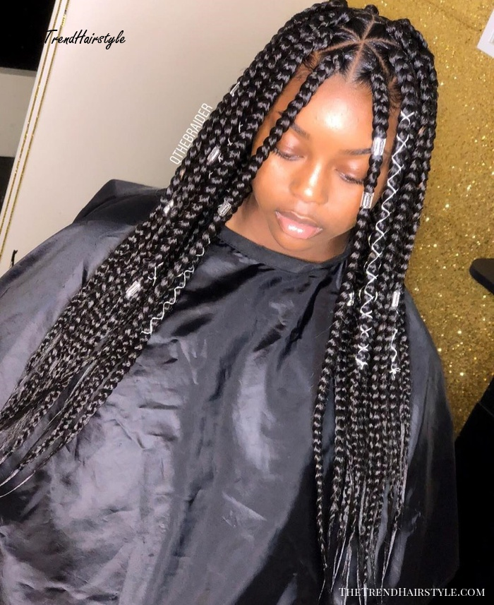 Long Medium Size Triangle Braids