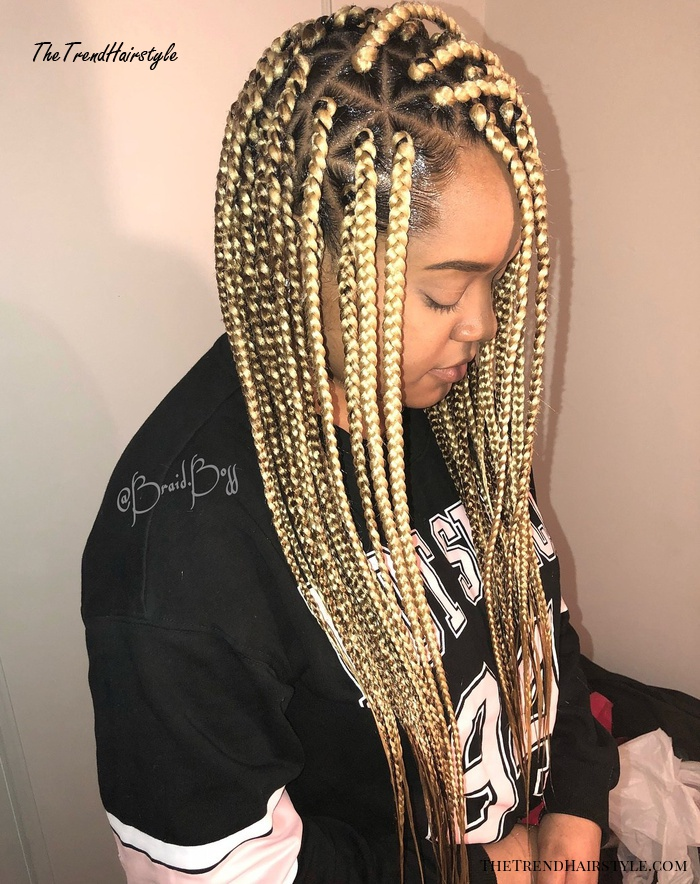 Metallic Blonde Combover Box Braids