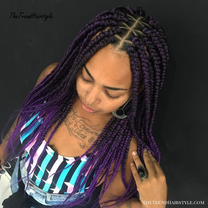 Purple Box Braids With Criss Cross Partings