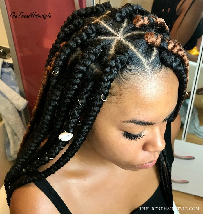Side Parted Black Box Braids With Caramel Highlights