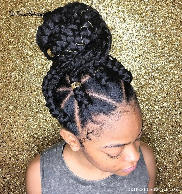 Thick Triangle Braids Updo