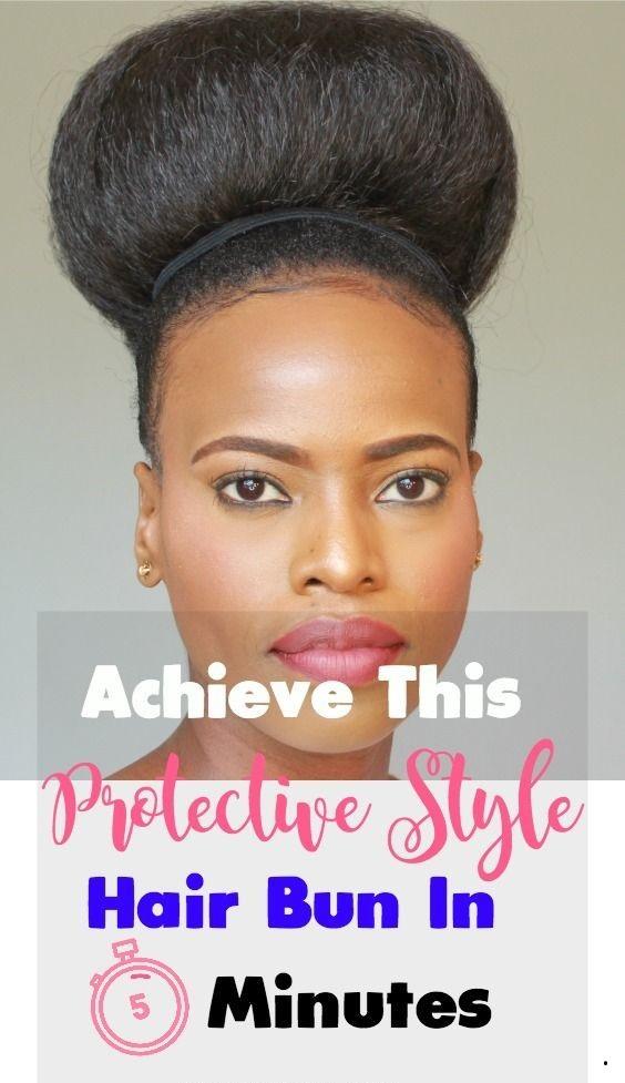 An Easy To Style Natural Hair Bun Using Braiding Hair For Black Women