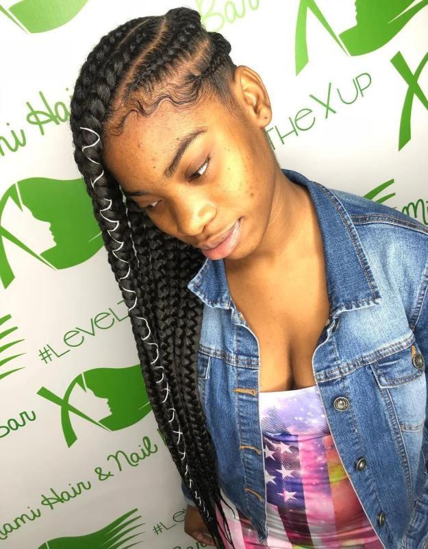 10 forward braids with hair wrap