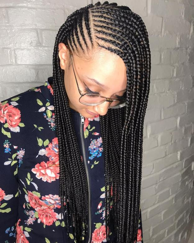 17 side parted loose cornrows