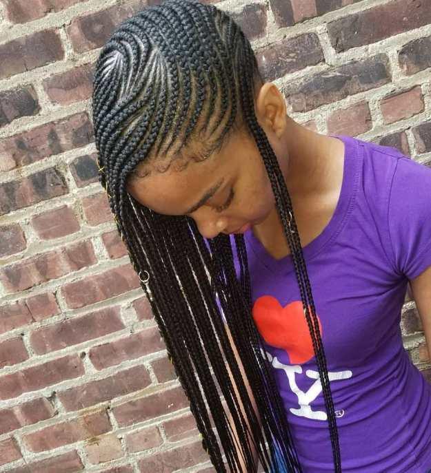 7 full scalp patterned side braids