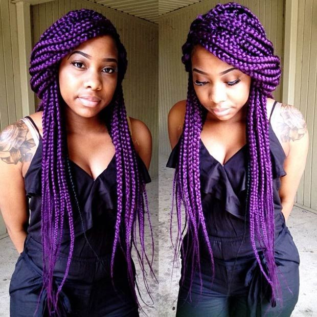 11 long purple box braids