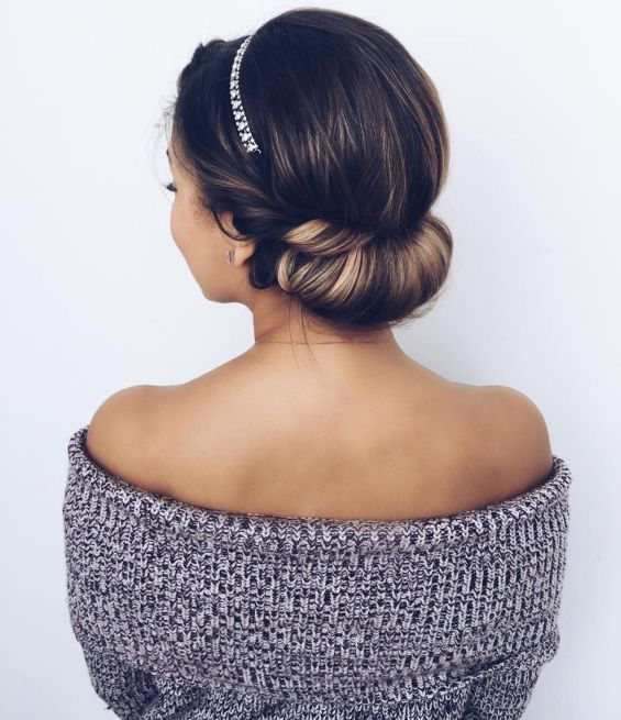 15 low roll updo with a headband