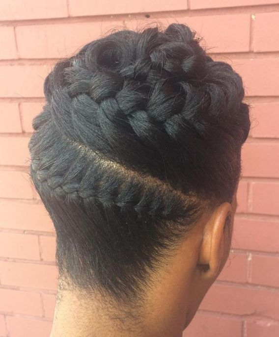 16 black goddess braids updo