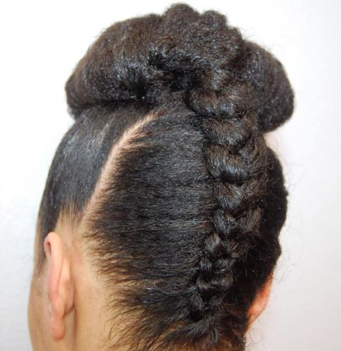 17 black upside down braid and bun
