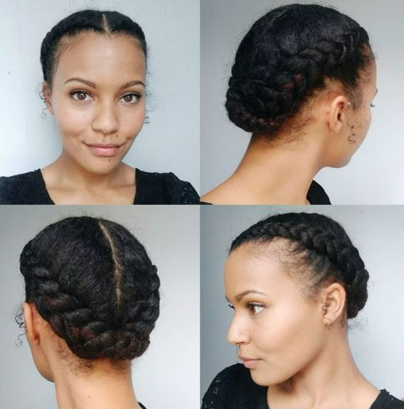 2 African American centreparted braided updo