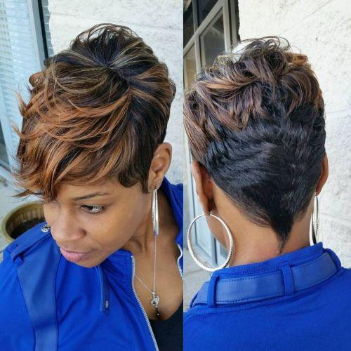 2 short black haircut with highlights