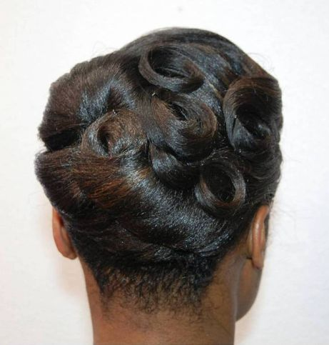 20 black vintage pin curls updo