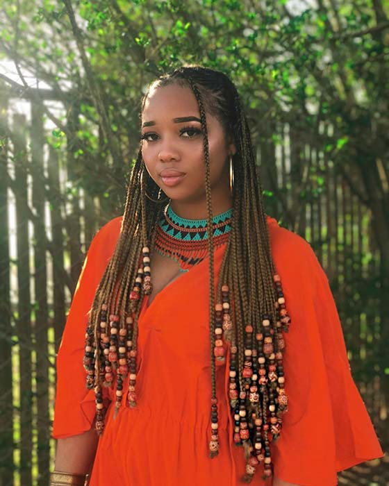 23 Best Ponytails Braids With beads 2020 For Natural Hair Styleafrika 10