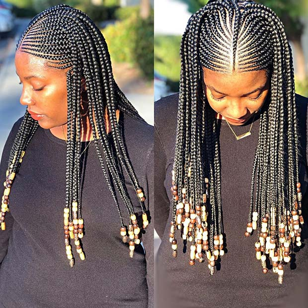 23 Best Ponytails Braids With beads 2020 For Natural Hair Styleafrika 3