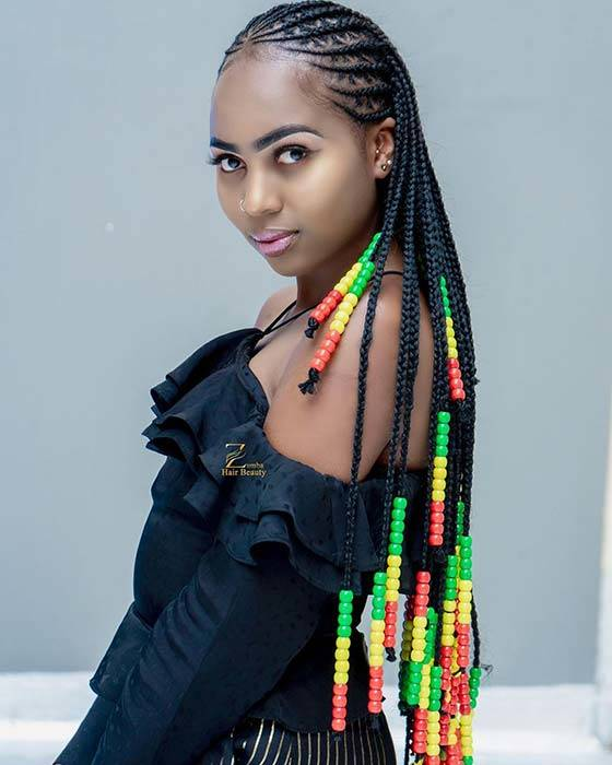 23 Best Ponytails Braids With beads 2020 For Natural Hair Styleafrika 5