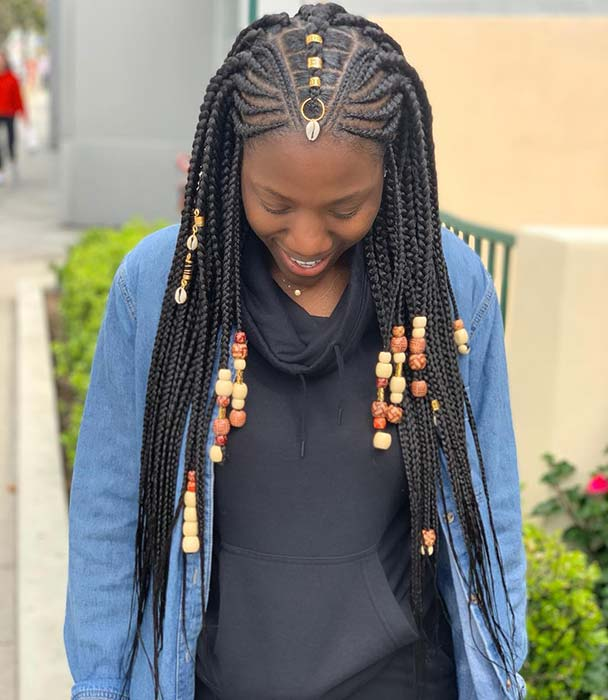23 Best Ponytails Braids With beads 2020 For Natural Hair Styleafrika 7