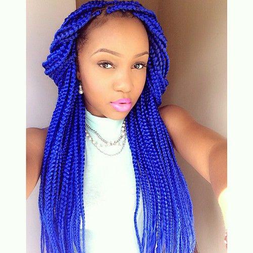 32 bright purple box braids
