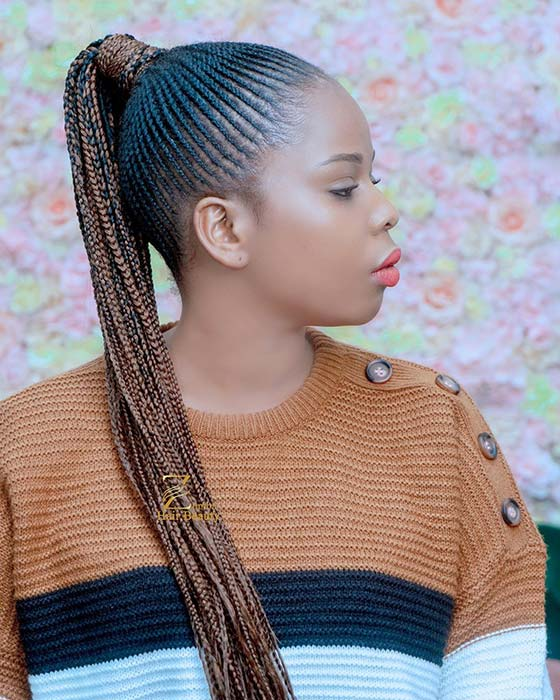 35 Best Ways to Wear Feed in Braids Ponytail For Black Ladies Styleafrika 1