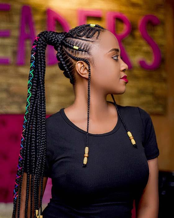 35 Best Ways to Wear Feed in Braids Ponytail For Black Ladies Styleafrika 4