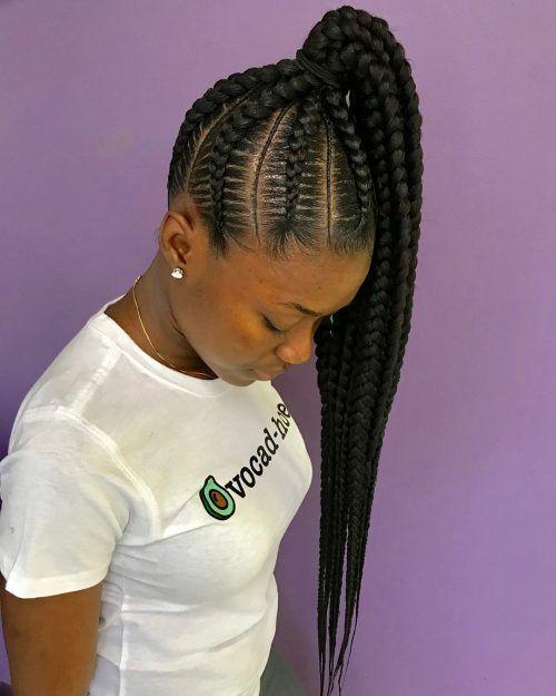 35 Best Ways to Wear Feed in Braids Ponytail For Black Ladies Styleafrika 7