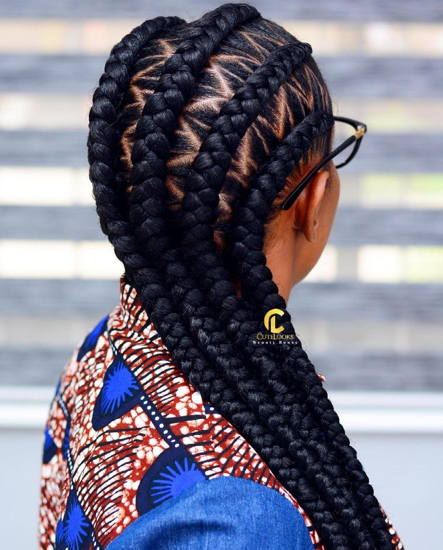 4 ghana braids with zig zag cornrows