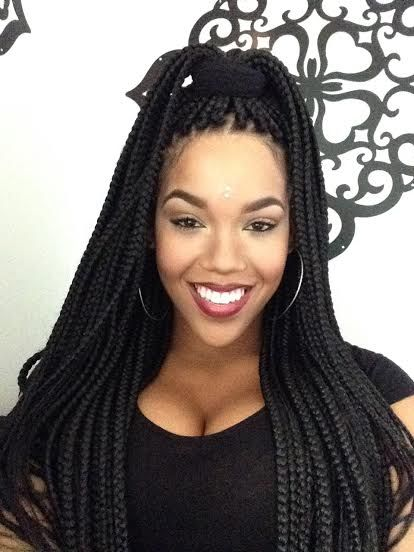 42 black box braids updo