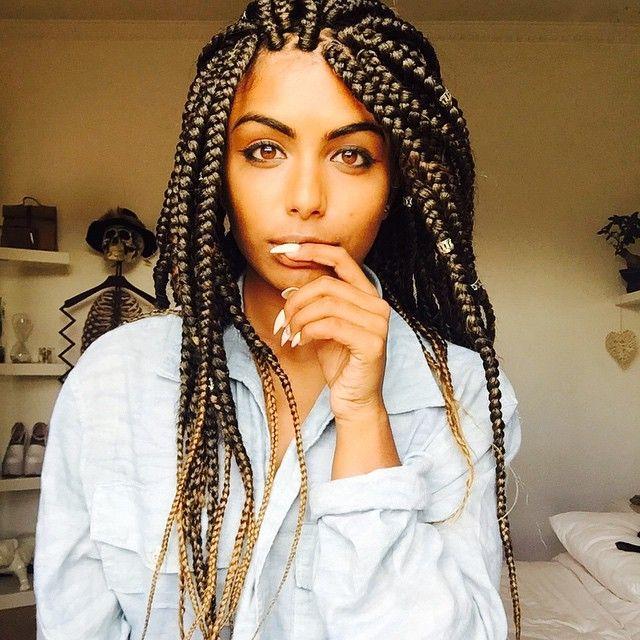 43 brown eyes box braids