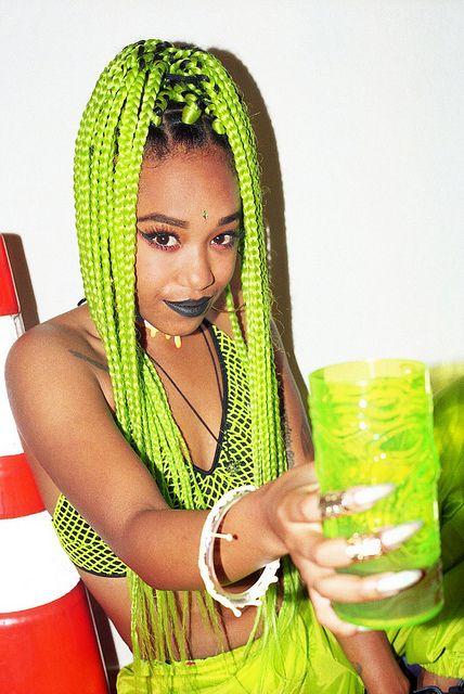 45 bright green box braids