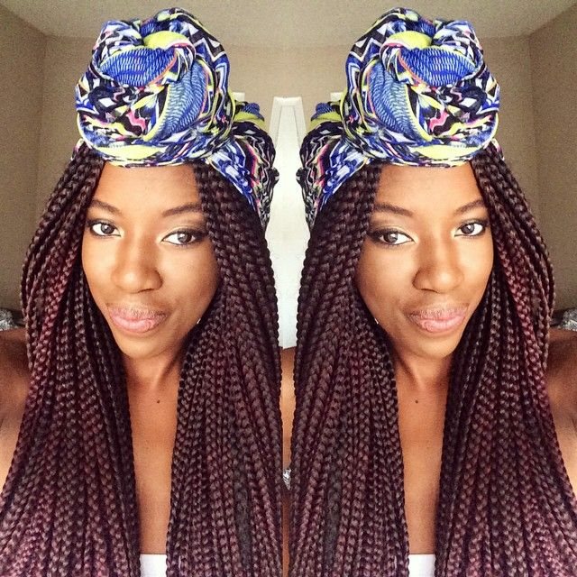 56 head wrap and box braids