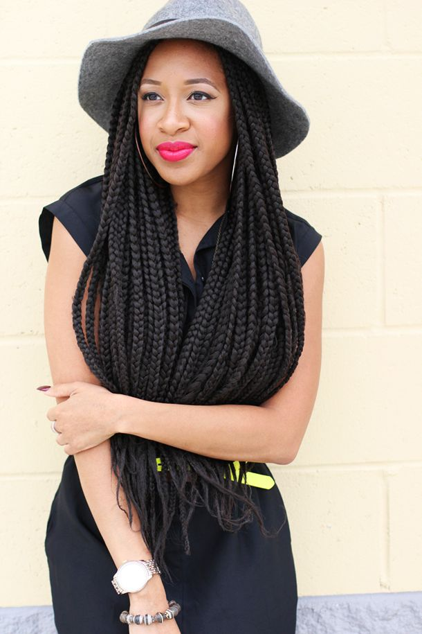 64 long box braids with hat