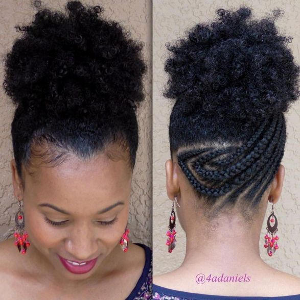 7 afro puff with asymmetrical braids