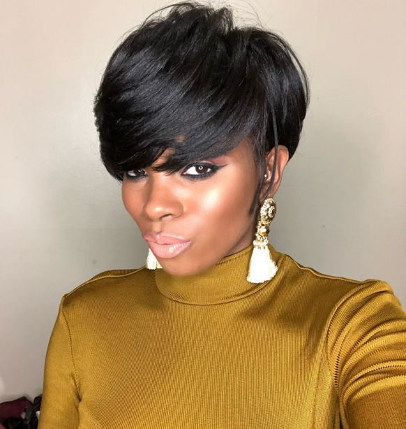 7 black layered pixie with bangs