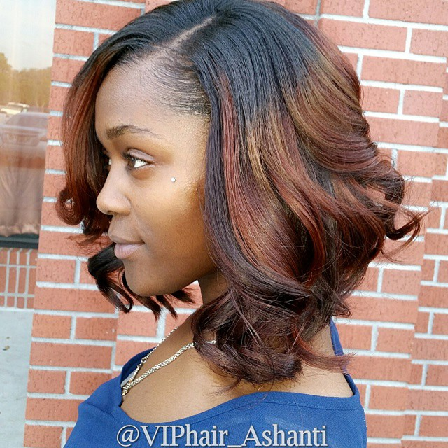 African American messy curly darkt o red ombre bob hairstyle for black women