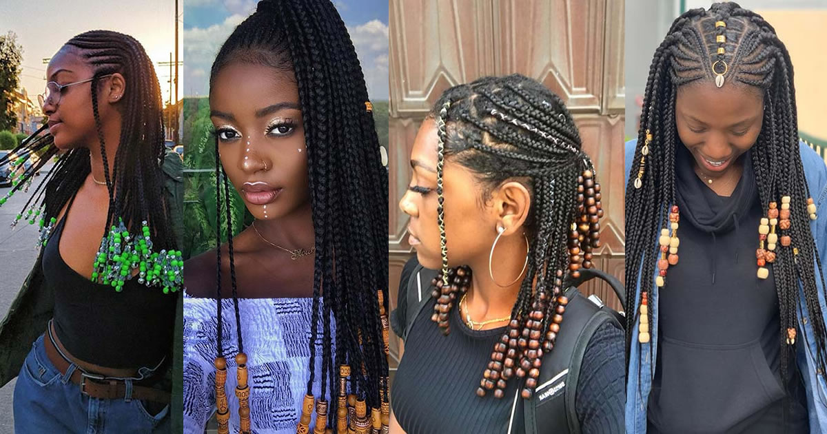 Best Ponytails Braids With beads 2020 For Natural Hair