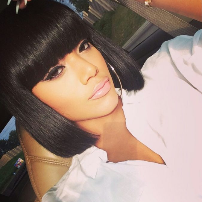Bob Hairstyle with Edgy Bangs for black women 675x675 1