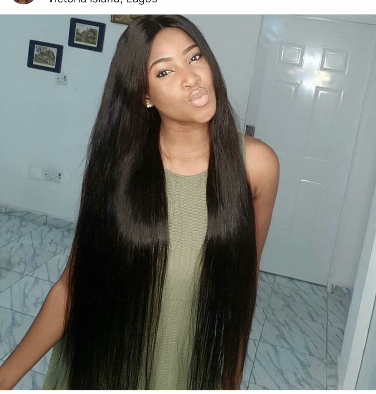 Custom made human hair straight wig Brazilan Extra long 34inches lace closure pre plucked closure 200 density Ready to ship