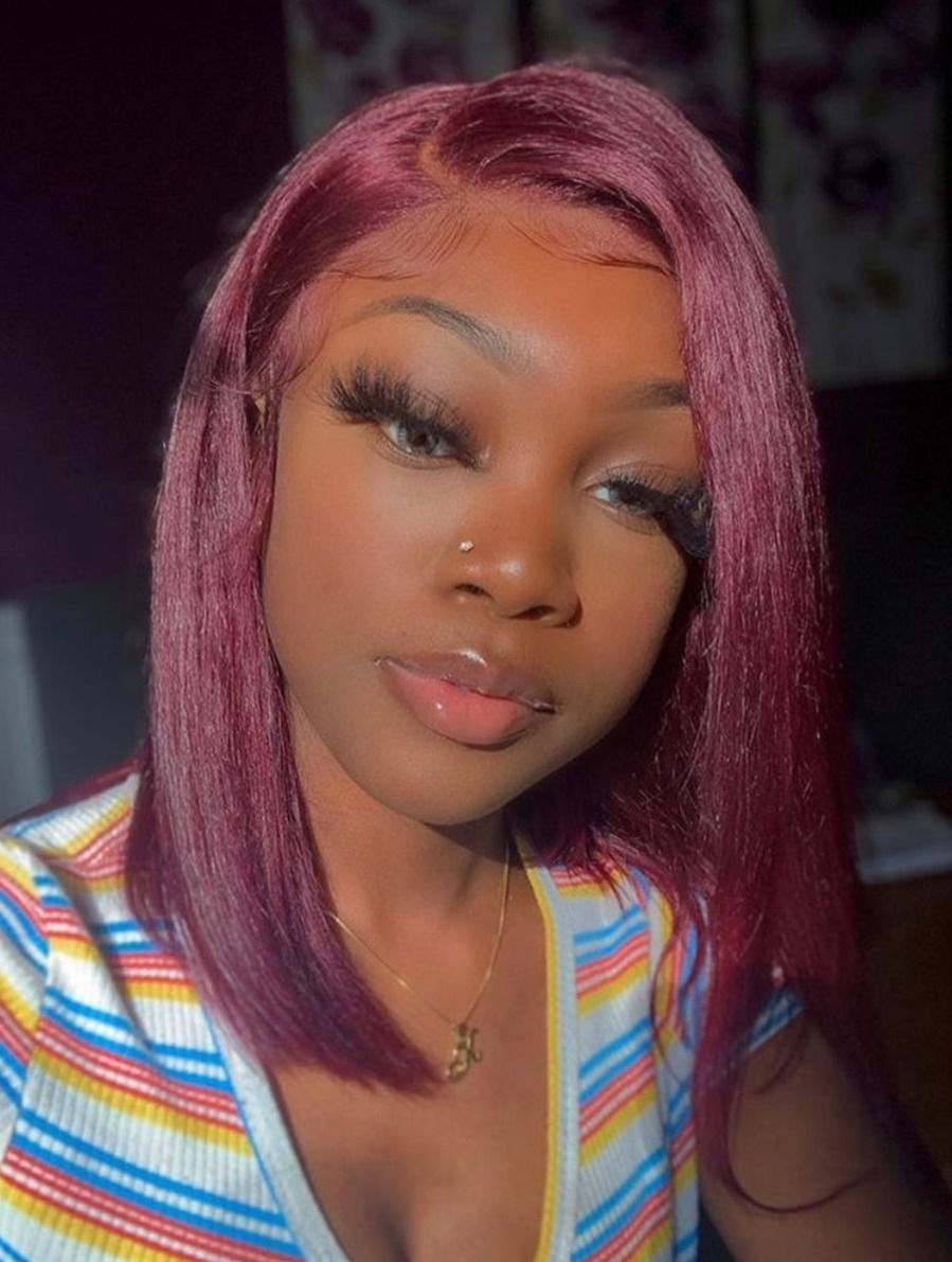 Virgin Human Hair Pure Burgundy Red Color Silky Straight Lace Front Wigs for Wome