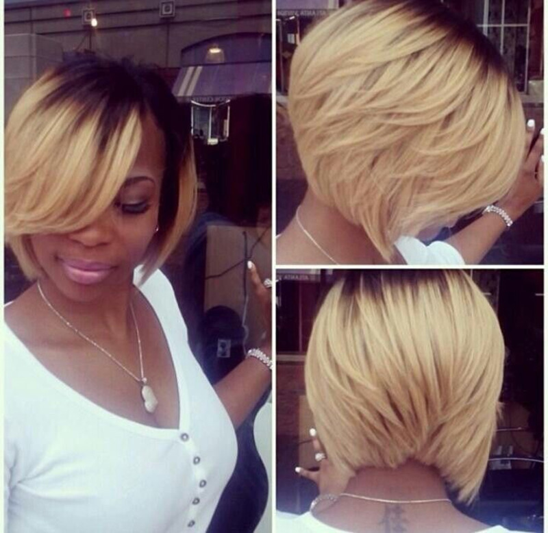 dark to blonde ombre bob hairstyle for black women with thick hair