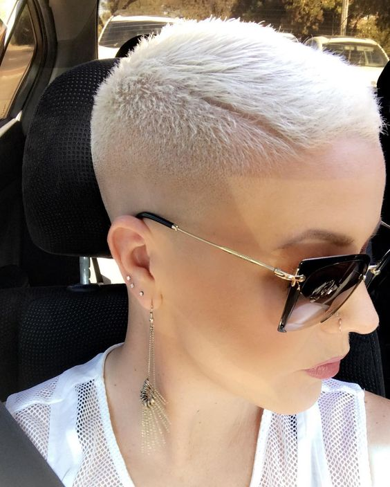 Katie on nstagram A bald fade. Everyones doing it. vintagebarbershoppe thank you Heather.